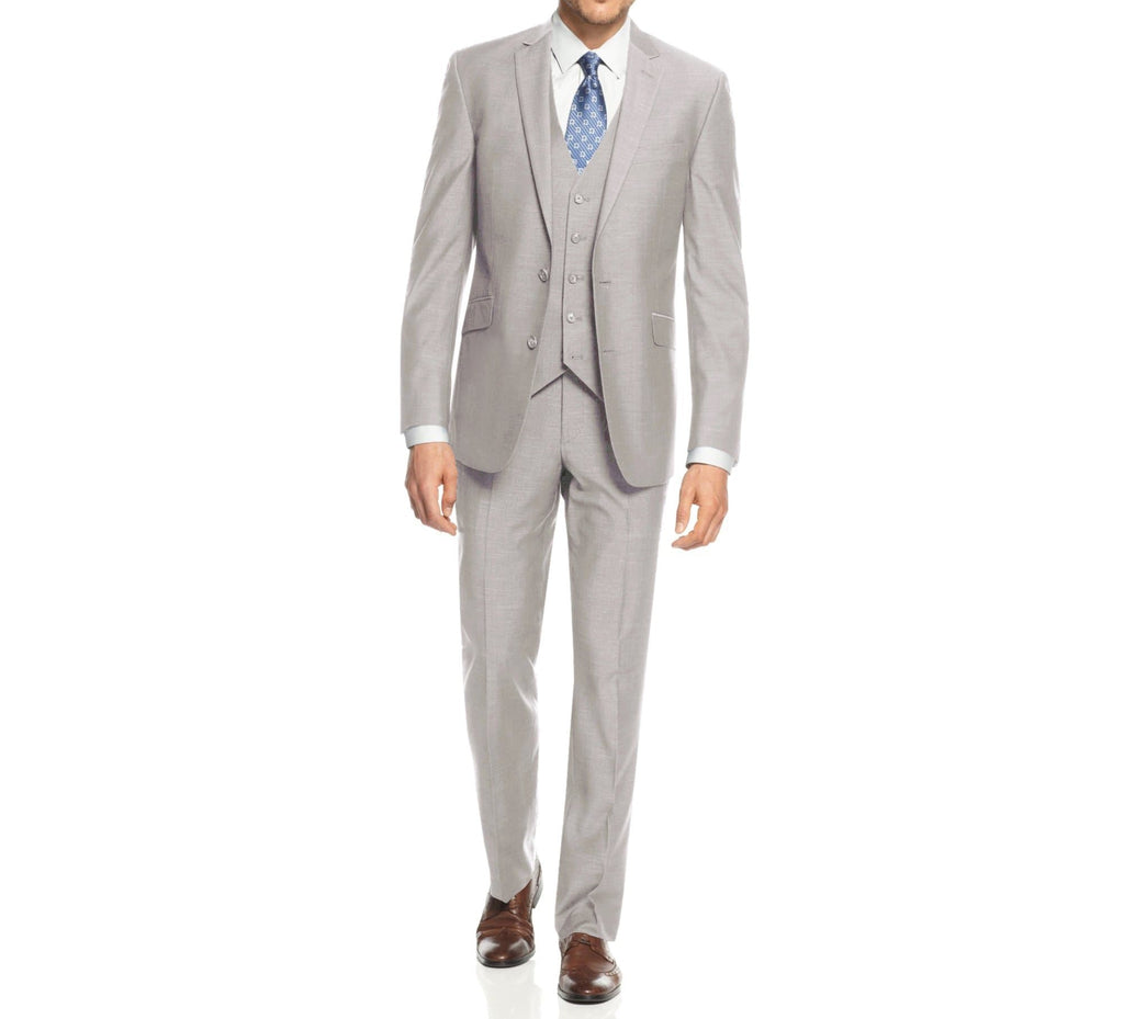 DAILY HAUTE Men's Suits LIGHT GREY / 36Rx30W Braveman Men's 3-Piece Three Piece Slim Fit Formal Cut Suit Set