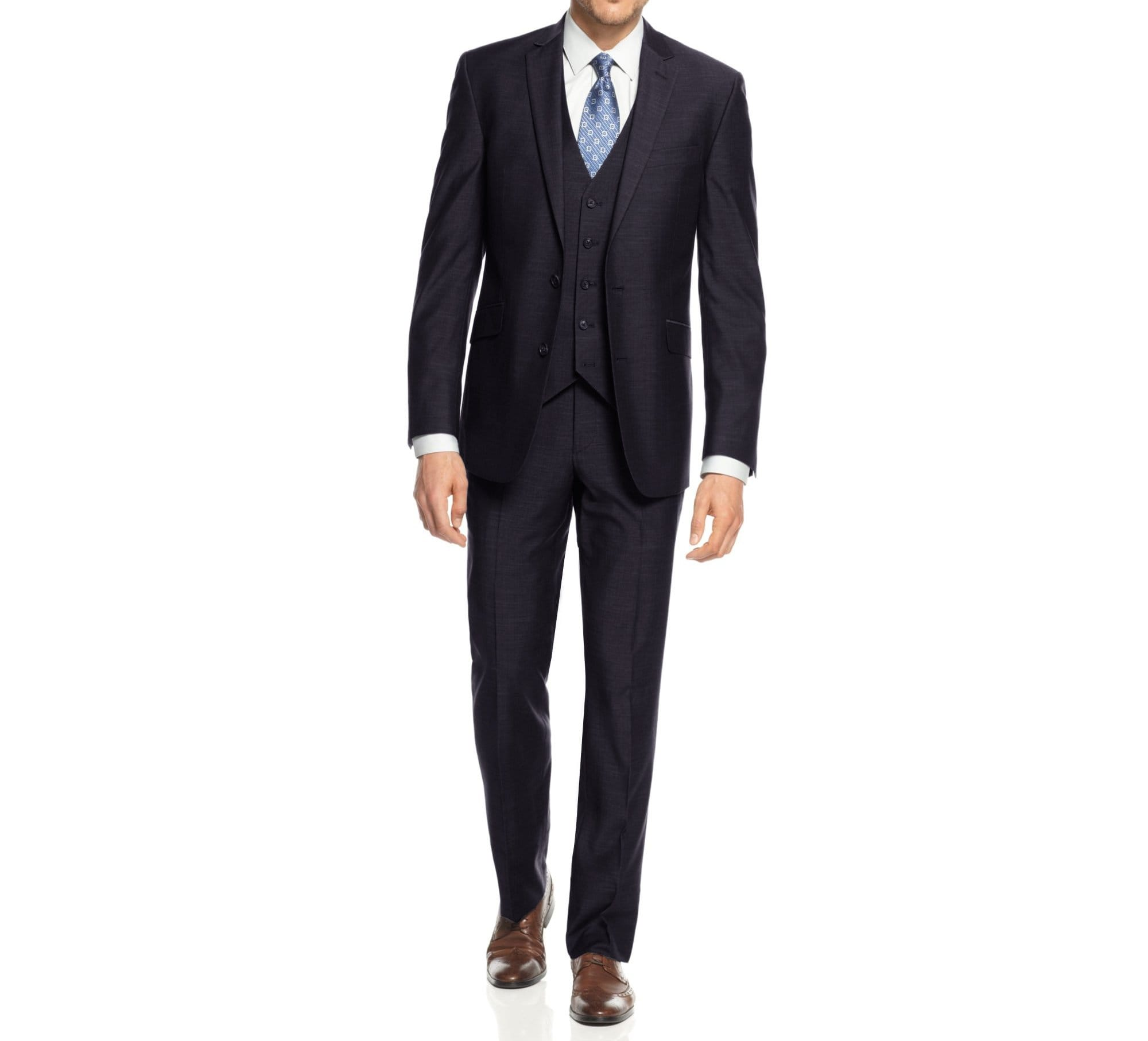 DAILY HAUTE Men's Suits NAVY / 36Rx30W Braveman Men's 3-Piece Three Piece Slim Fit Formal Cut Suit Set