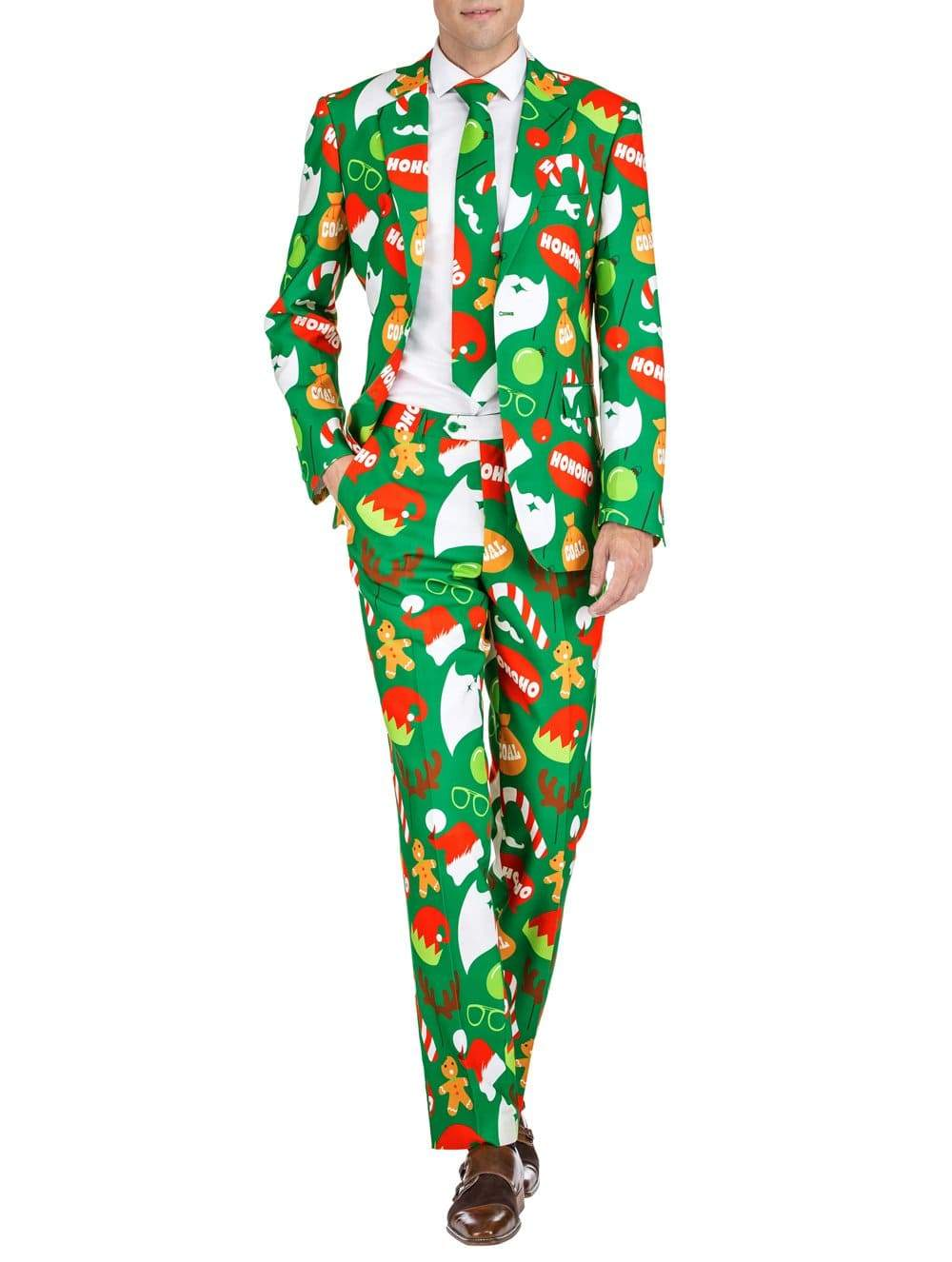 DAILY HAUTE Men's Suits CHRISTMAS PARTY / 36R/30W Braveman Men's Classic Fit Ugly Christmas Suits with Matching Tie