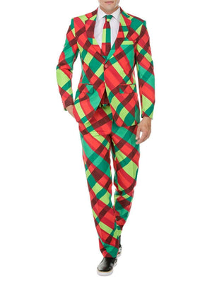 DAILY HAUTE Men's Suits CHRISTMAS PLAID / 36R/30W Braveman Men's Classic Fit Ugly Christmas Suits with Matching Tie