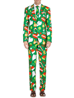DAILY HAUTE Men's Suits Braveman Men's Classic Fit Ugly Christmas Suits with Matching Tie