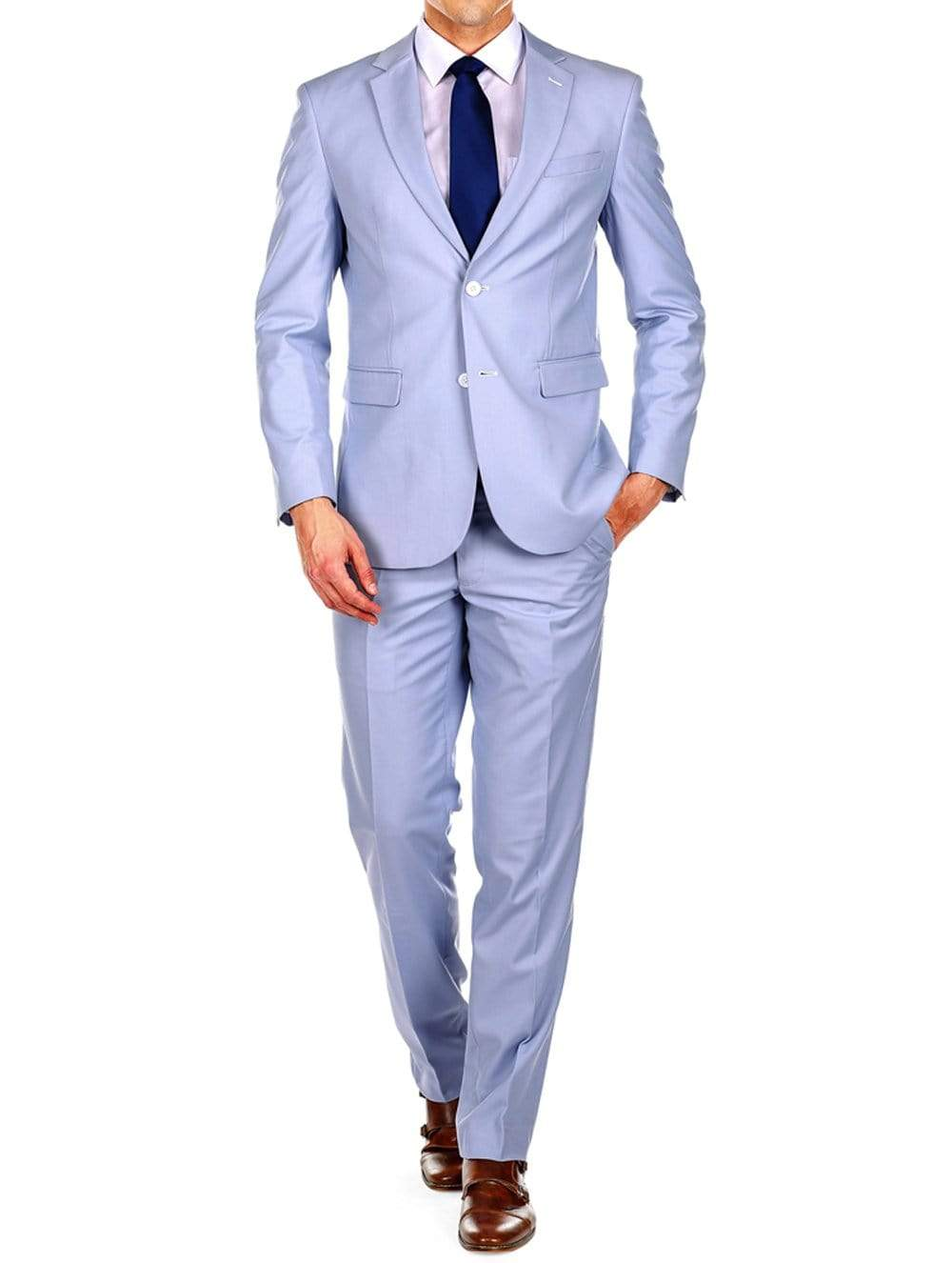DAILY HAUTE Men's Suits LIGHT BLUE / 36Rx30W Braveman Men's Slim Fit 2PC Suits