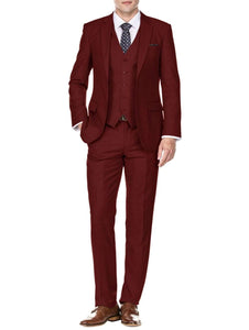 DAILY HAUTE Men's Suits BURGUNDY / 36Rx30W Braveman Men's Slim Fit 3PC Solid Suits