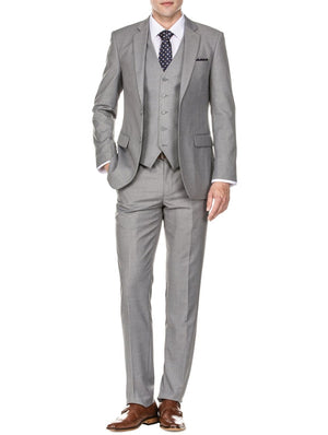 DAILY HAUTE Men's Suits GREY / 36Rx30W Braveman Men's Slim Fit 3PC Solid Suits