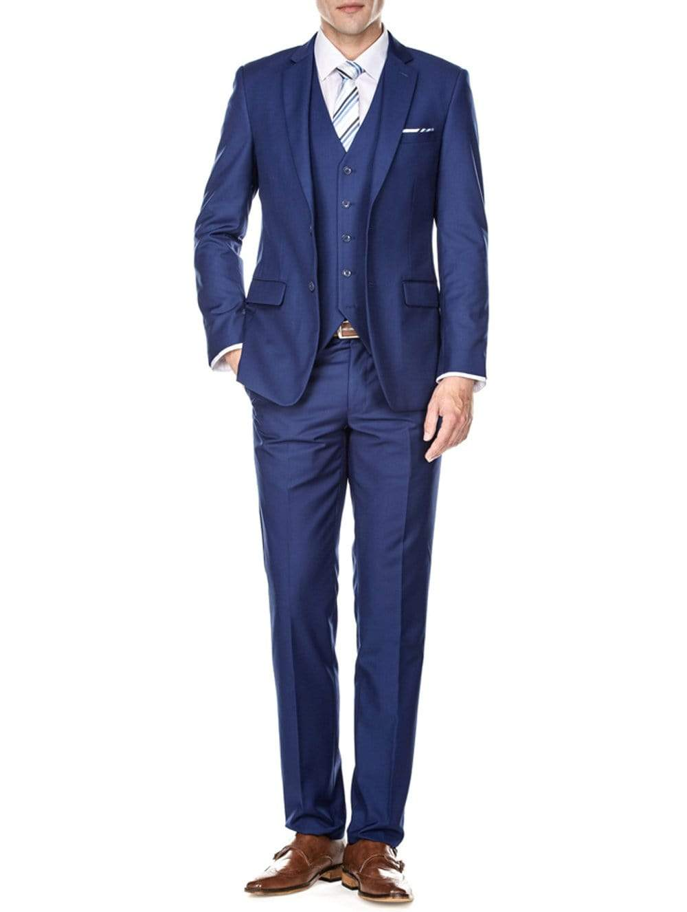 DAILY HAUTE Men's Suits INDIGO / 36Rx30W Braveman Men's Slim Fit 3PC Solid Suits