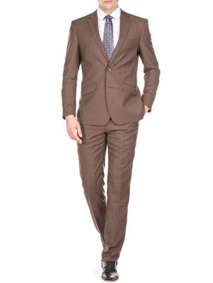DAILY HAUTE Men's Suits BROWN / 36Rx30W Gino Vitale Light Glen Check Men's Slim Fit 2PC Suit