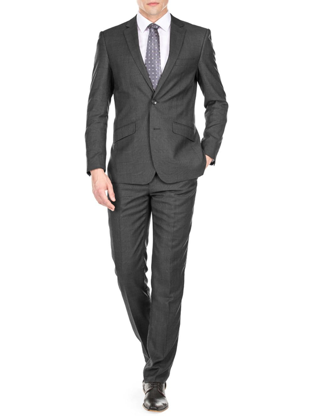 DAILY HAUTE Men's Suits CHARCOAL / 36Rx30W Gino Vitale Light Glen Check Men's Slim Fit 2PC Suit