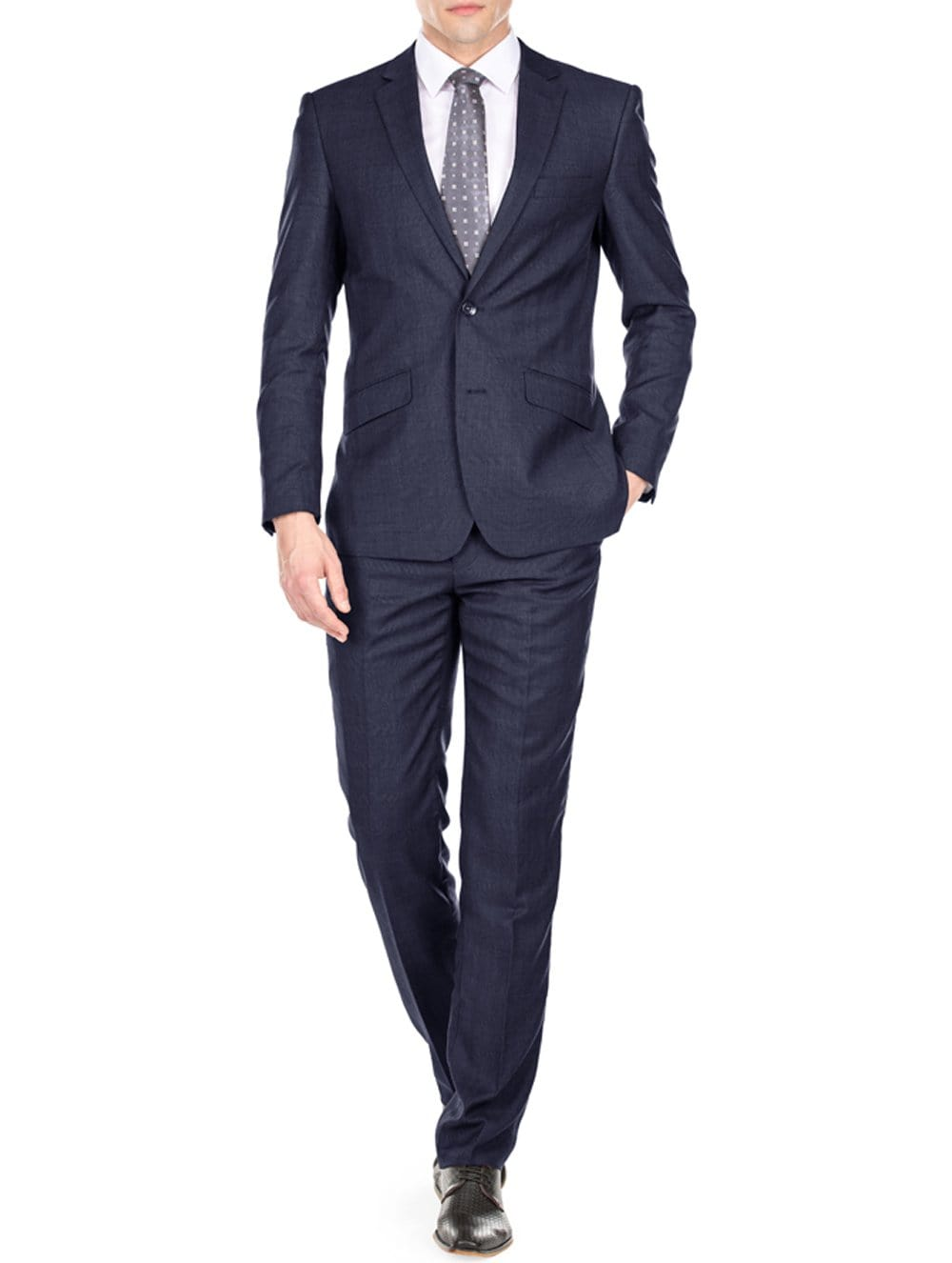DAILY HAUTE Men's Suits NAVY / 36Rx30W Gino Vitale Light Glen Check Men's Slim Fit 2PC Suit