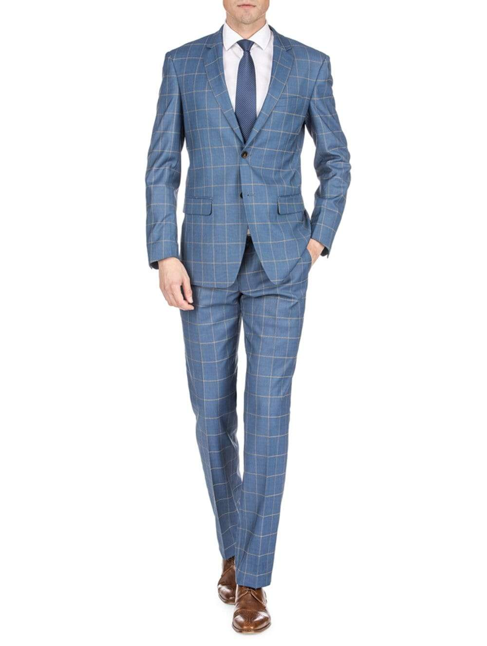 DAILY HAUTE Men's Suits TEAL BLUE / 36Rx30W Gino Vitale Men's Check Slim Fit Suits