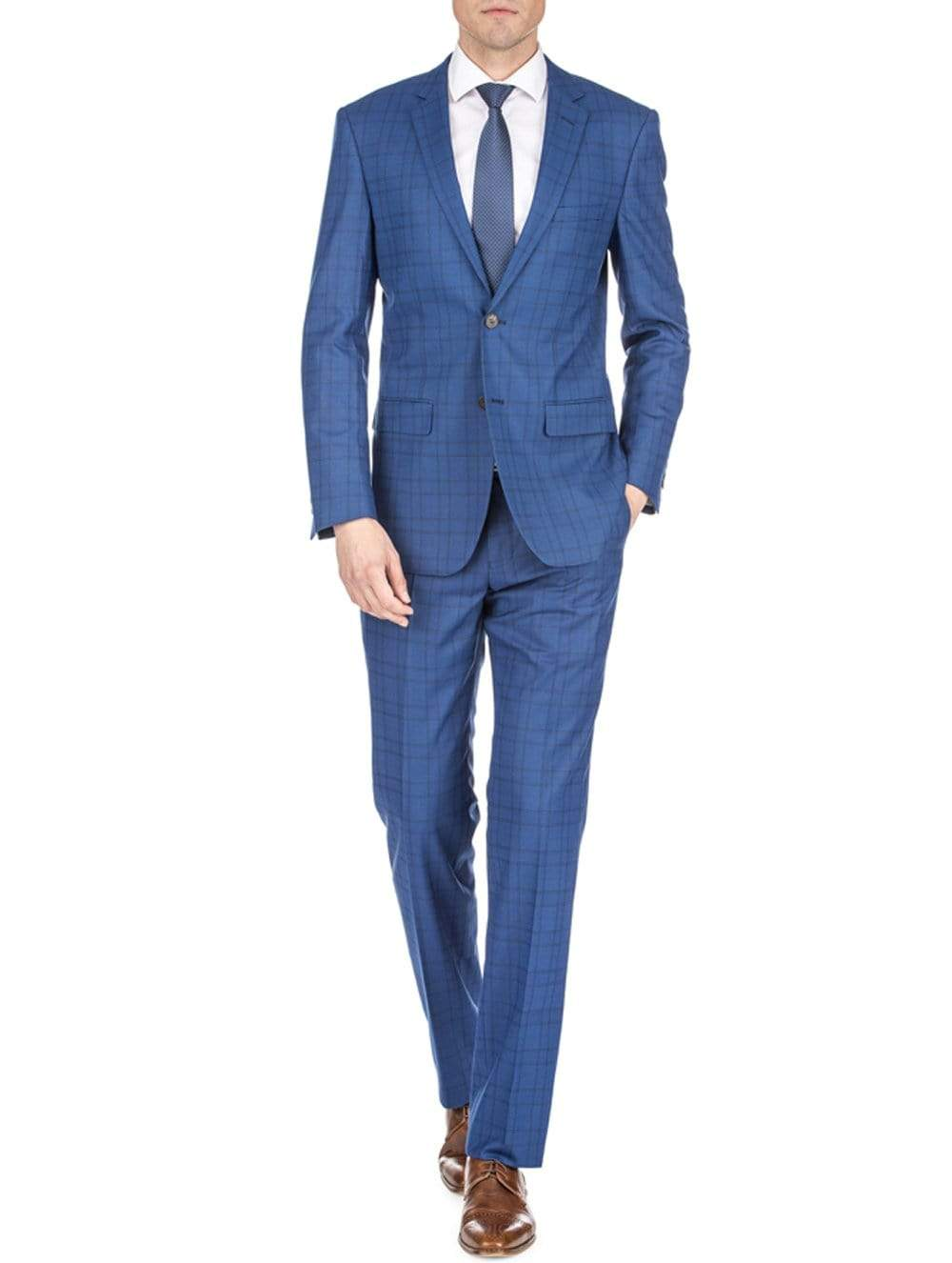 DAILY HAUTE Men's Suits DARK BLUE / 36Rx30W Gino Vitale Men's Harrogate Windowpane Slim Fit 2PC Suits