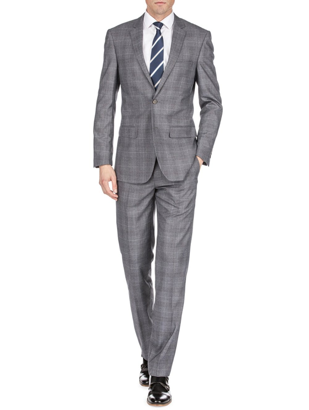 DAILY HAUTE Men's Suits GRAY / 36Rx30W Gino Vitale Men's Harrogate Windowpane Slim Fit 2PC Suits