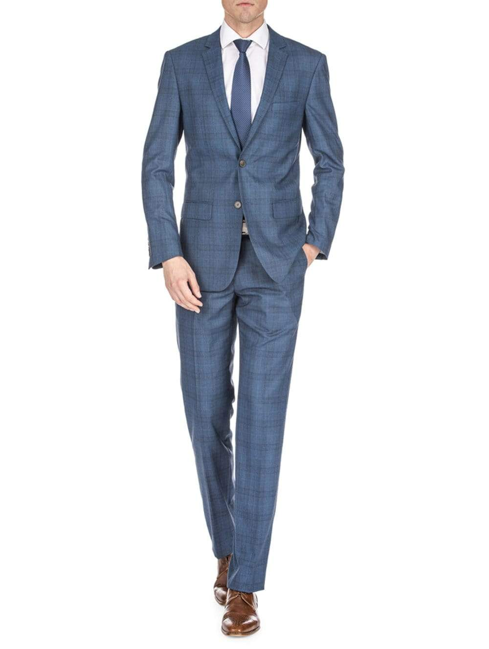 DAILY HAUTE Men's Suits INK BLUE / 36Rx30W Gino Vitale Men's Harrogate Windowpane Slim Fit 2PC Suits