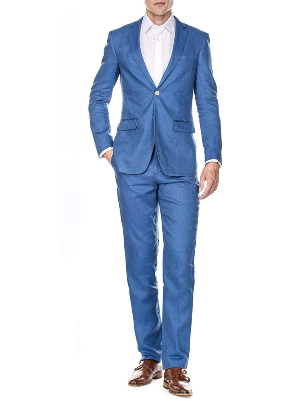DAILY HAUTE Men's Suits INDIGO / 36Rx30W Gino Vitale Men's Slim Fit Pure Linen 2pc Suits