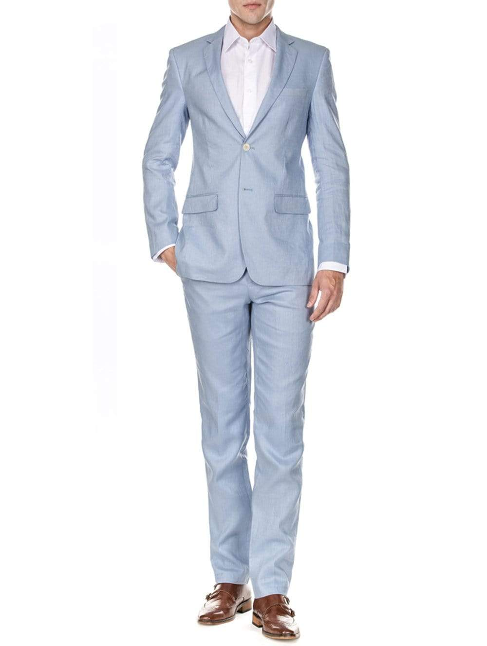 DAILY HAUTE Men's Suits LIGHT BLUE / 36Rx30W Gino Vitale Men's Slim Fit Pure Linen 2pc Suits