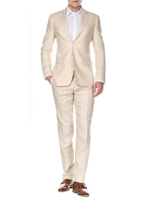 DAILY HAUTE Men's Suits OATMEAL / 36Rx30W Gino Vitale Men's Slim Fit Pure Linen 2pc Suits