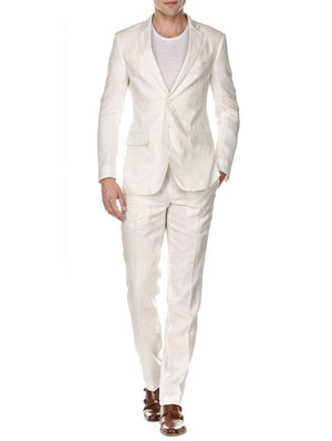 DAILY HAUTE Men's Suits WHITE / 36Rx30W Gino Vitale Men's Slim Fit Pure Linen 2pc Suits
