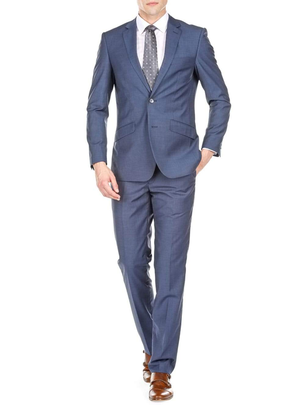 DAILY HAUTE Men's Suits BLUE / 36Rx30W Gino Vitale Men's Slim Fit Sharkskin 2 Piece Suit