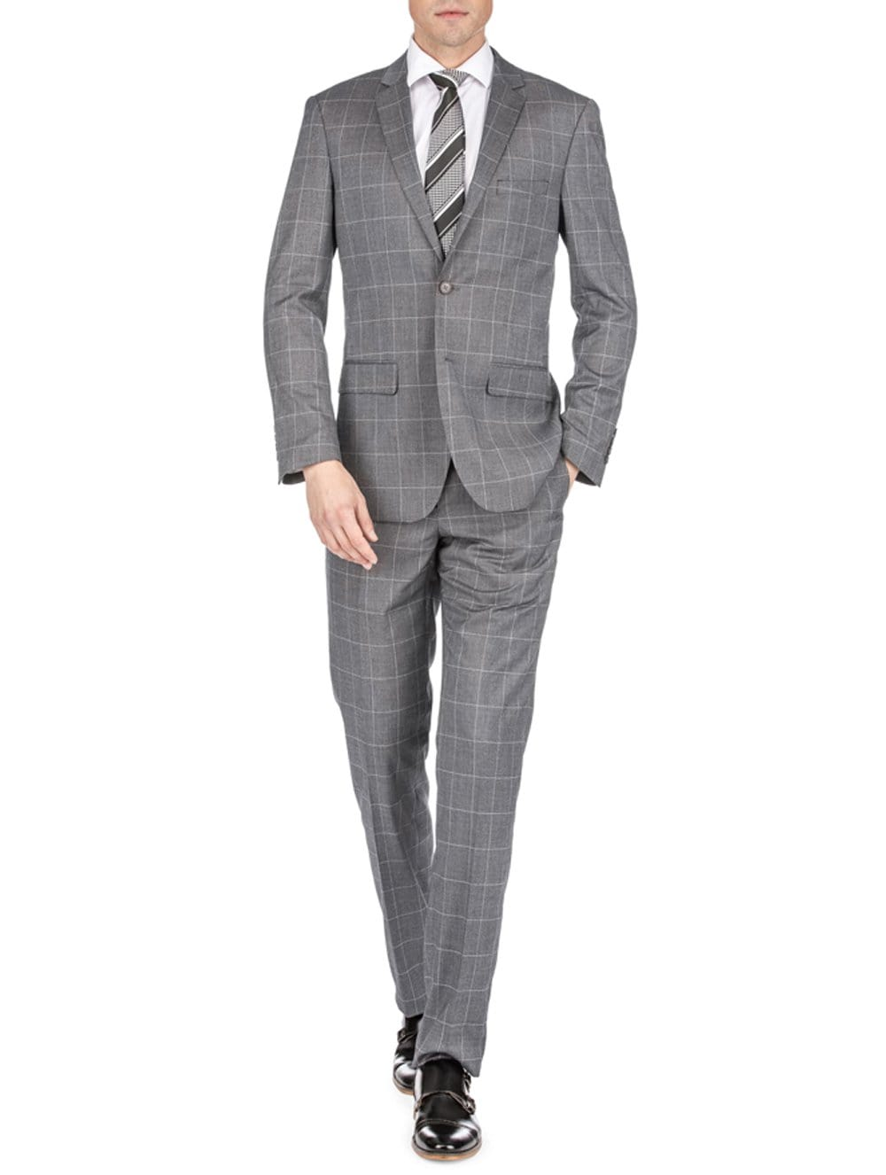 DAILY HAUTE Men's Suits GREY / 36Rx30W Gino Vitale Men's Traveler Check Slim Fit Suits