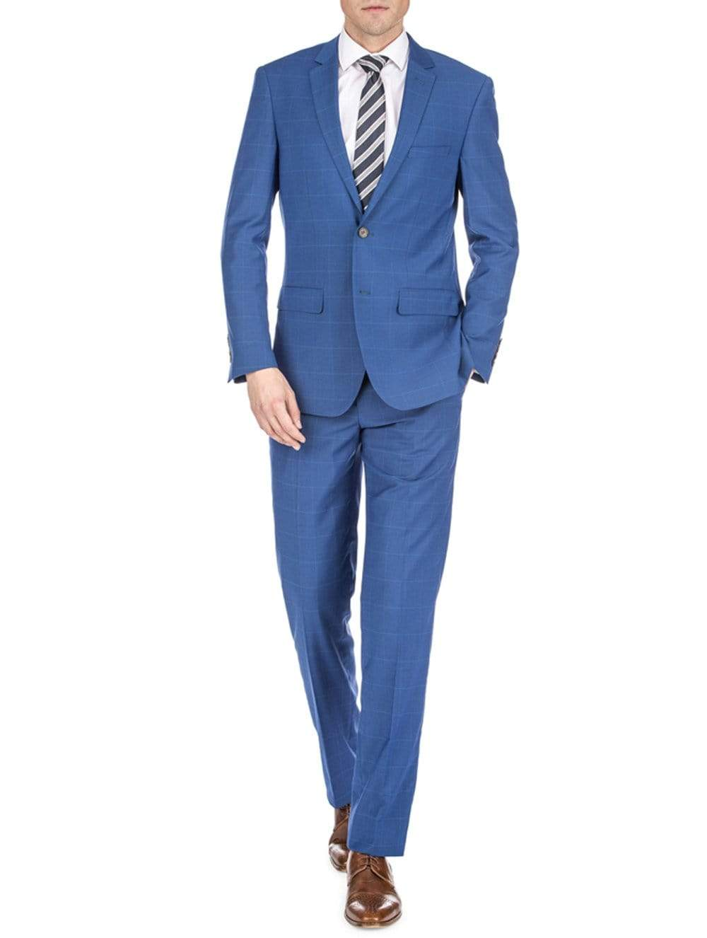 DAILY HAUTE Men's Suits INDIGO / 36Rx30W Gino Vitale Men's Traveler Check Slim Fit Suits