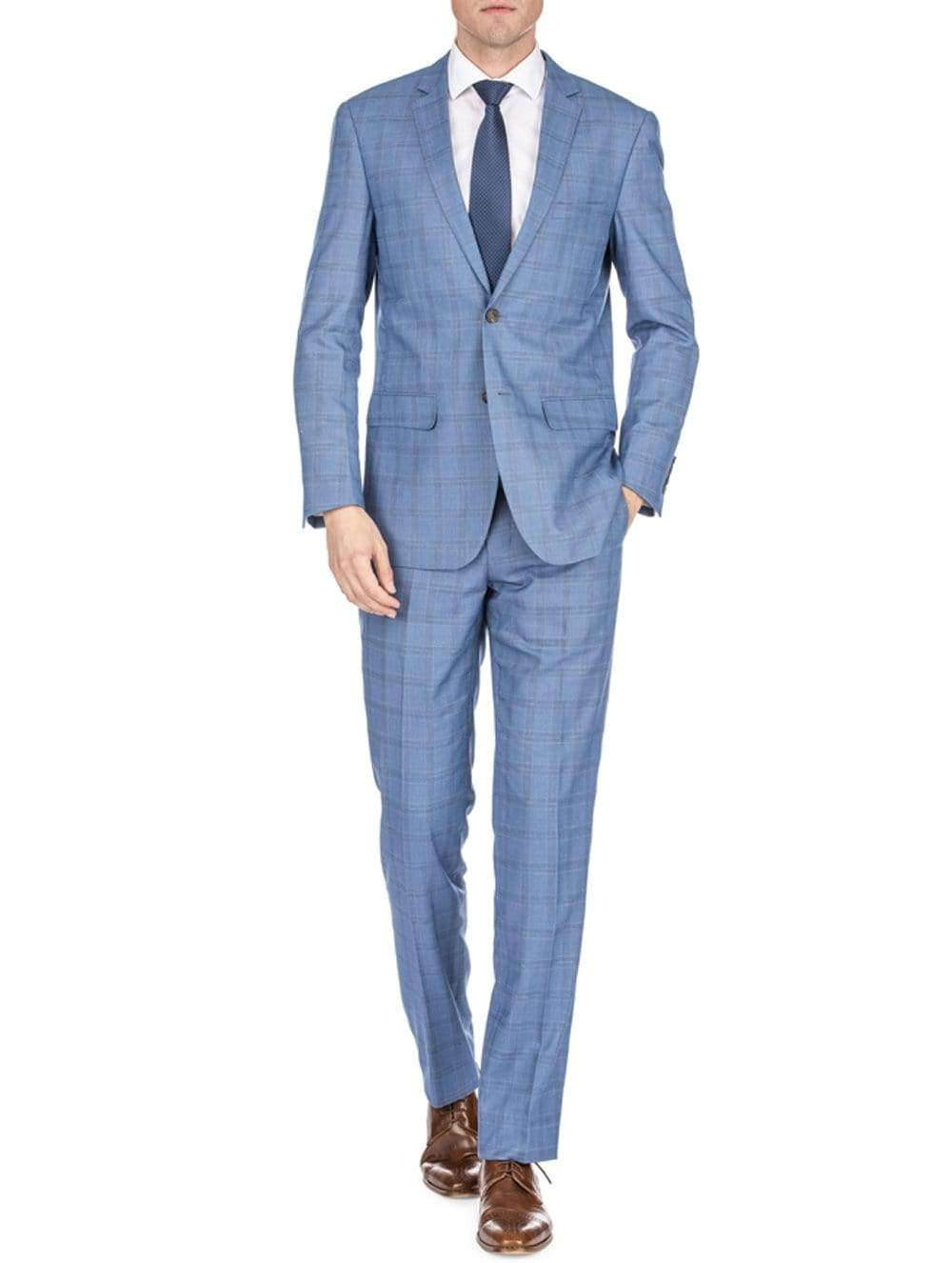 DAILY HAUTE Men's Suits LIGHT BLUE / 36Rx30W Gino Vitale Men's Traveler Check Slim Fit Suits