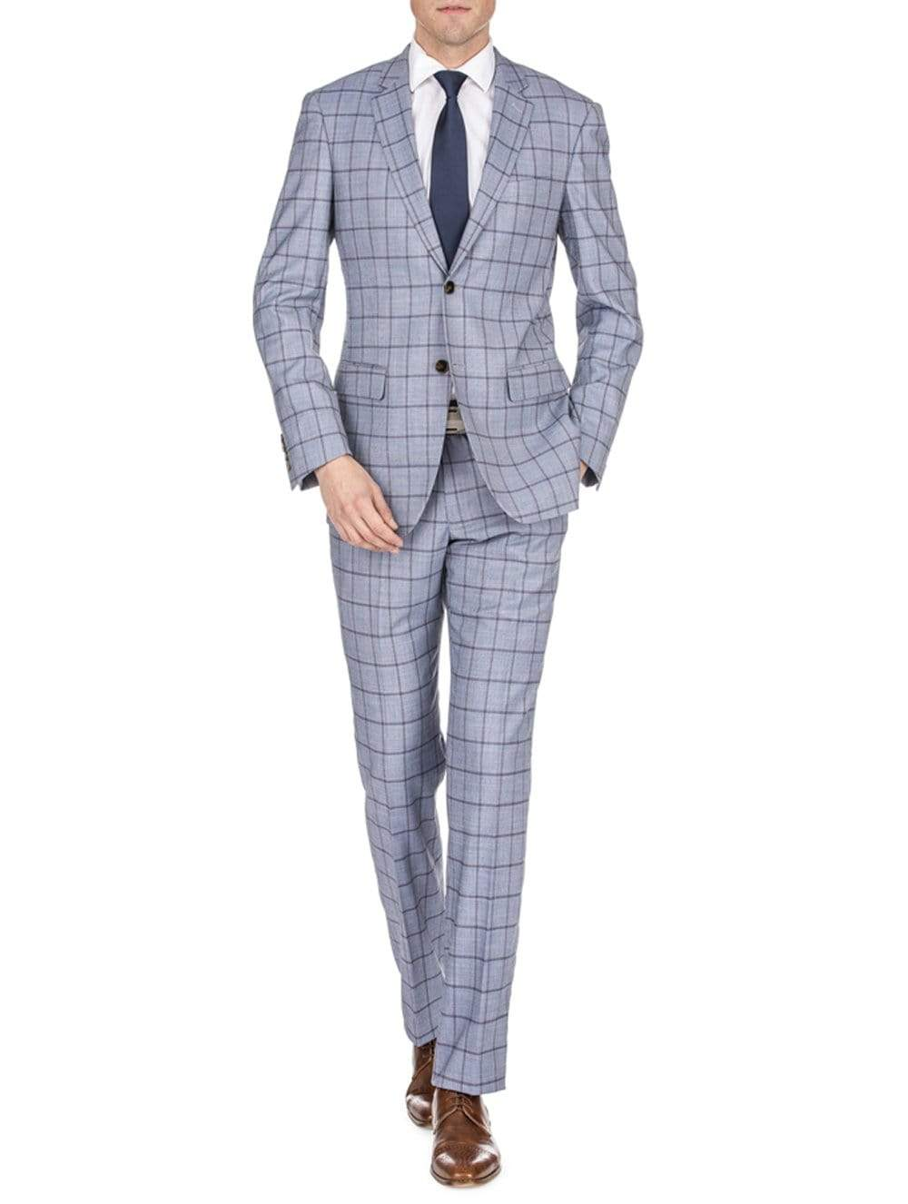 DAILY HAUTE Men's Suits GREY / 36Rx30W Gino Vitale Men's Window Pane Slim Fit Suits