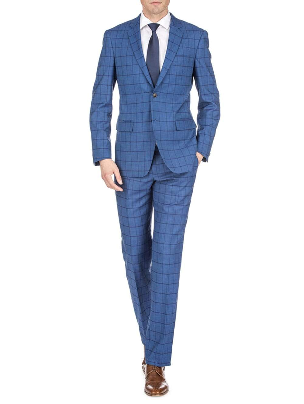 DAILY HAUTE Men's Suits INDIGO / 36Rx30W Gino Vitale Men's Window Pane Slim Fit Suits