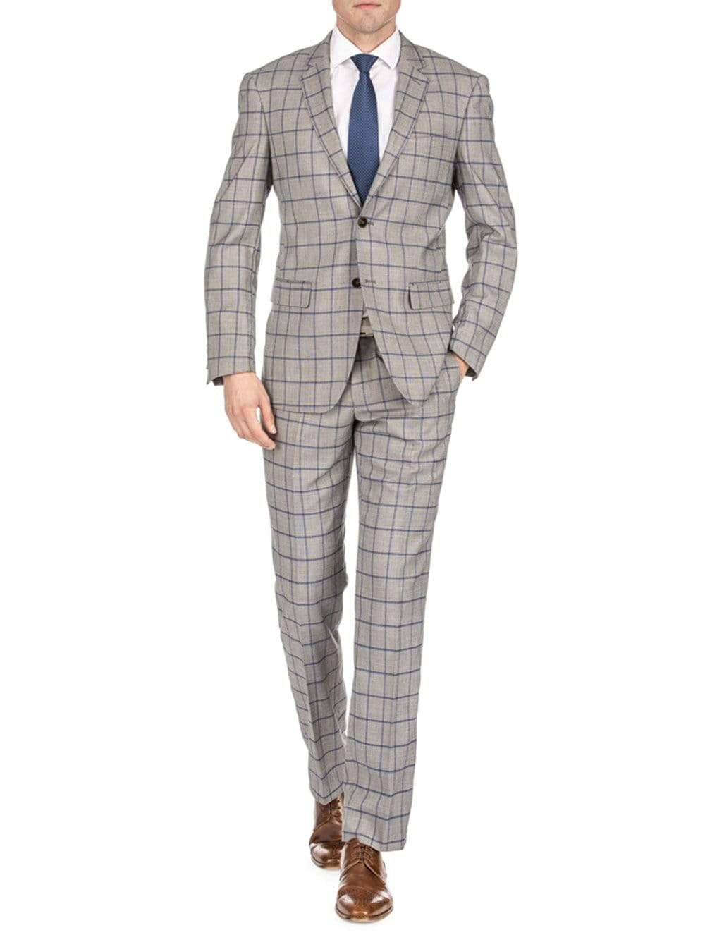 DAILY HAUTE Men's Suits TAN / 36Rx30W Gino Vitale Men's Window Pane Slim Fit Suits