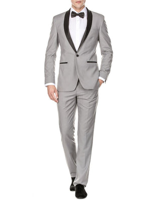 DAILY HAUTE Men's Tuxedo LIGHT GREY / 36Rx30W Gino Vitale Men's Slim Fit Shawl Lapel Tuxedo