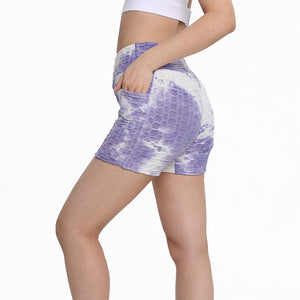 Haute Edition Women's Butt Lifting Tie Dye High Waist Bike Shorts with Phone Pcoket
