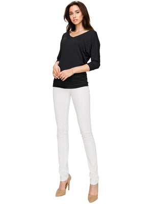Women's V Neck 3/4 Sleeve Drape Dolman Shirt Top with Side Shirring - DAILYHAUTE