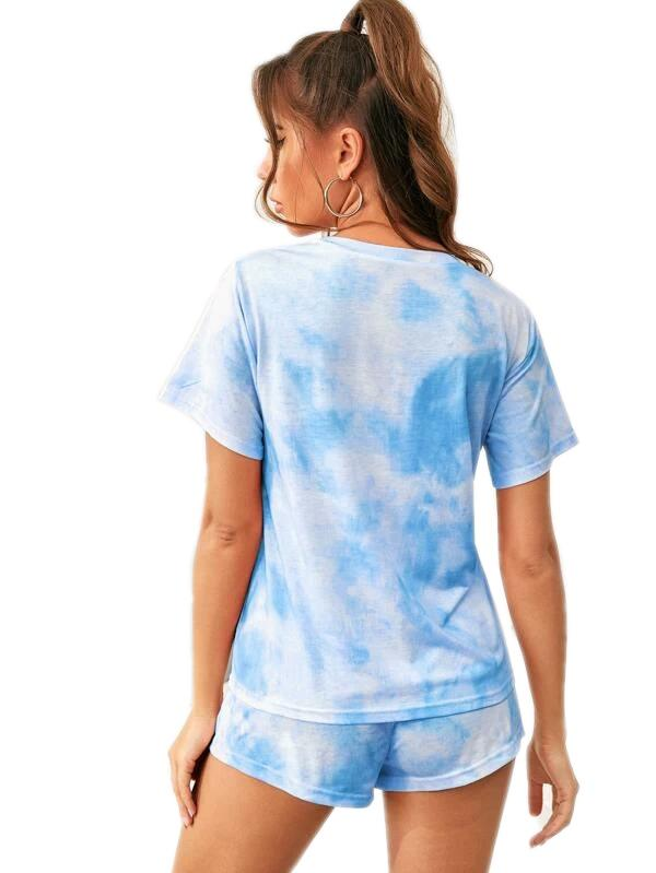 DAILYHAUTE WOMEN LOUNGE SET Haute Edition Tie Dye T-Shirt and Shorts Matching Lounge Set with Plus
