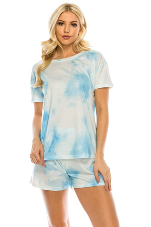 DAILYHAUTE WOMEN LOUNGE SET MULTI BLUE / S Haute Edition Tie Dye T-Shirt and Shorts Matching Lounge Set with Plus