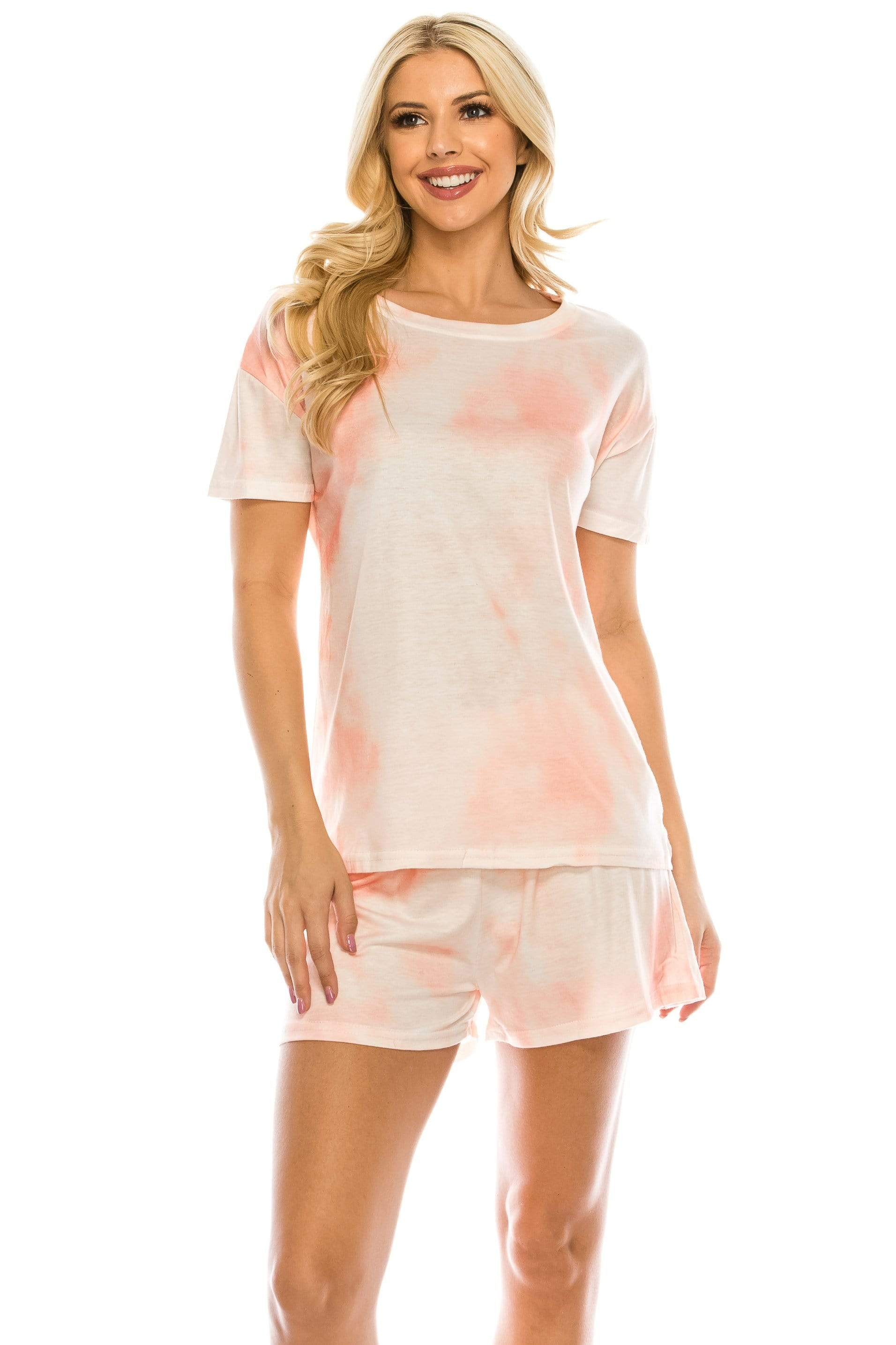 DAILYHAUTE WOMEN LOUNGE SET MULTI PINK / S Haute Edition Tie Dye T-Shirt and Shorts Matching Lounge Set with Plus