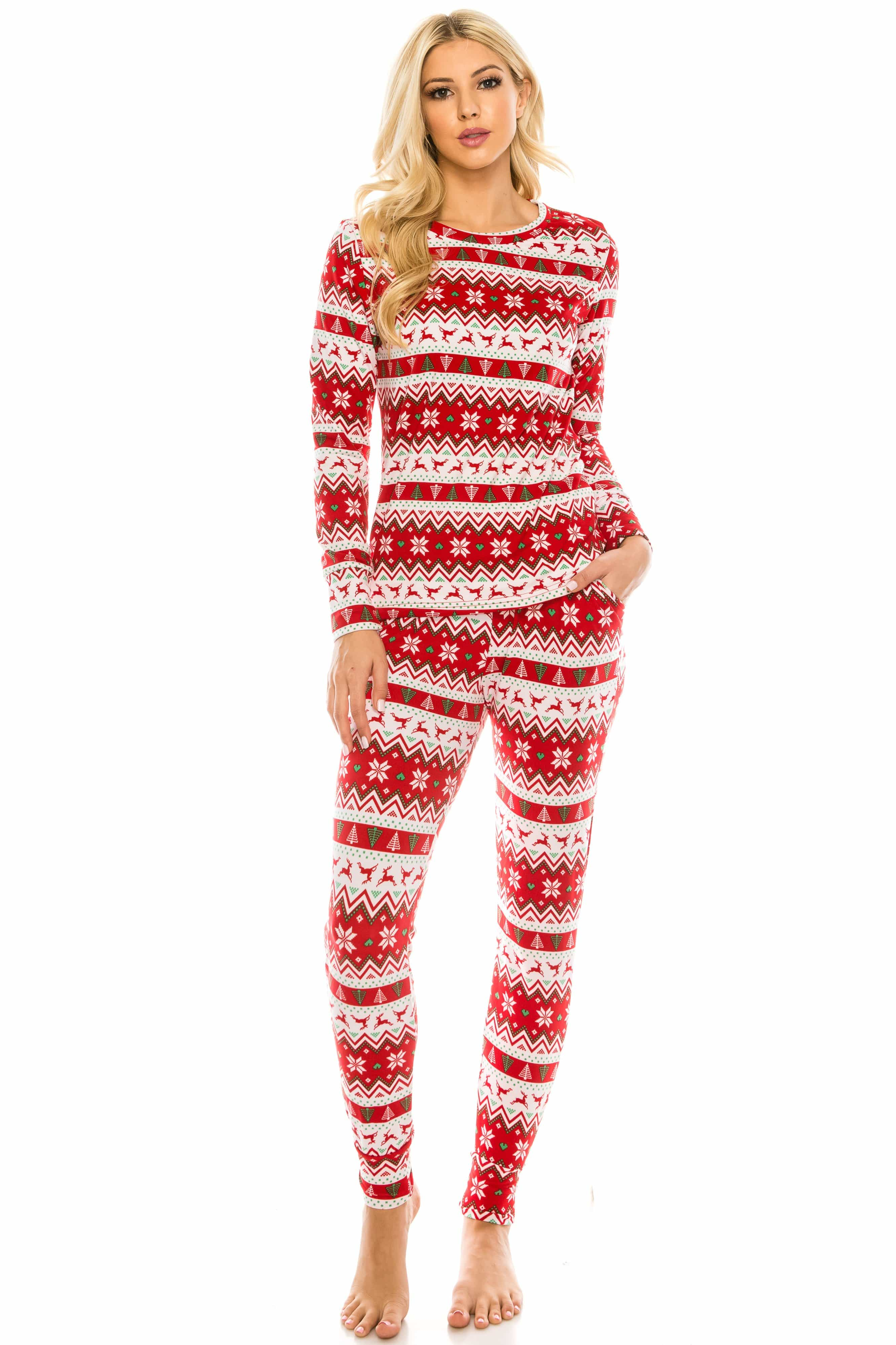 DAILYHAUTE WOMEN LOUNGE SET RED SWEATER / S Women's Cozy Christmas Fleece-Lined 2-Piece Matching Jogger Sets