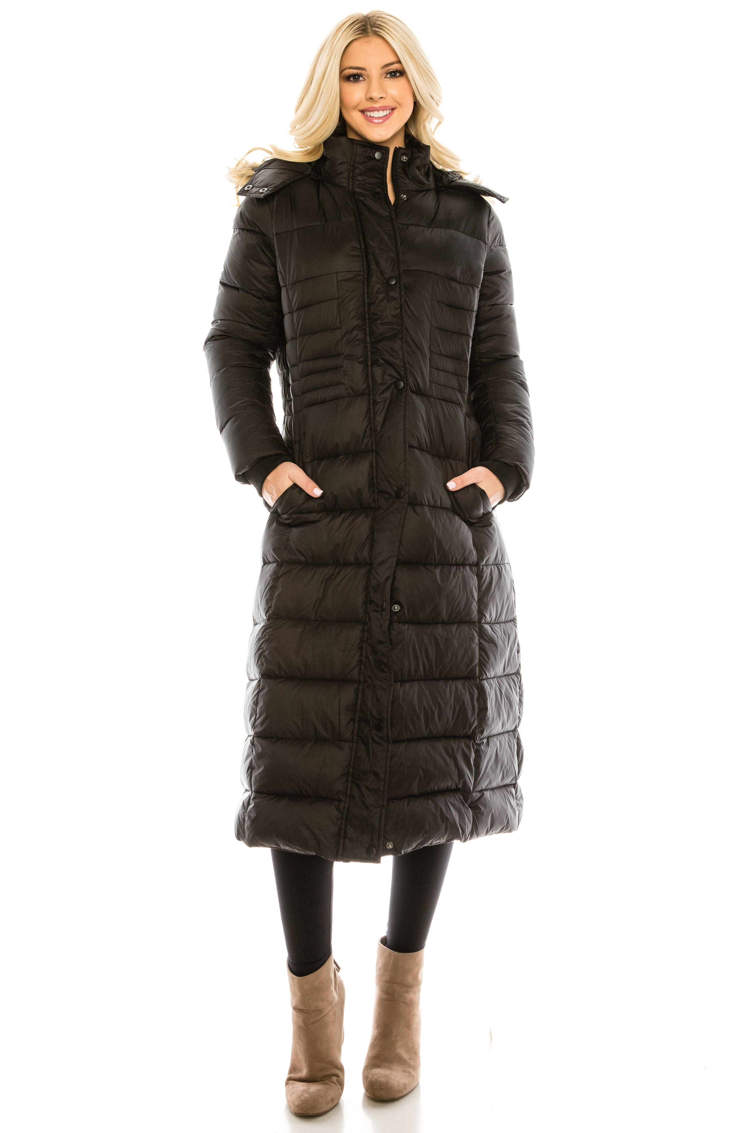 DAILYHAUTE Women's coats BLACK / S Haute Edition Women's Maxi Length Quilted Puffer with Fur Lined Hood