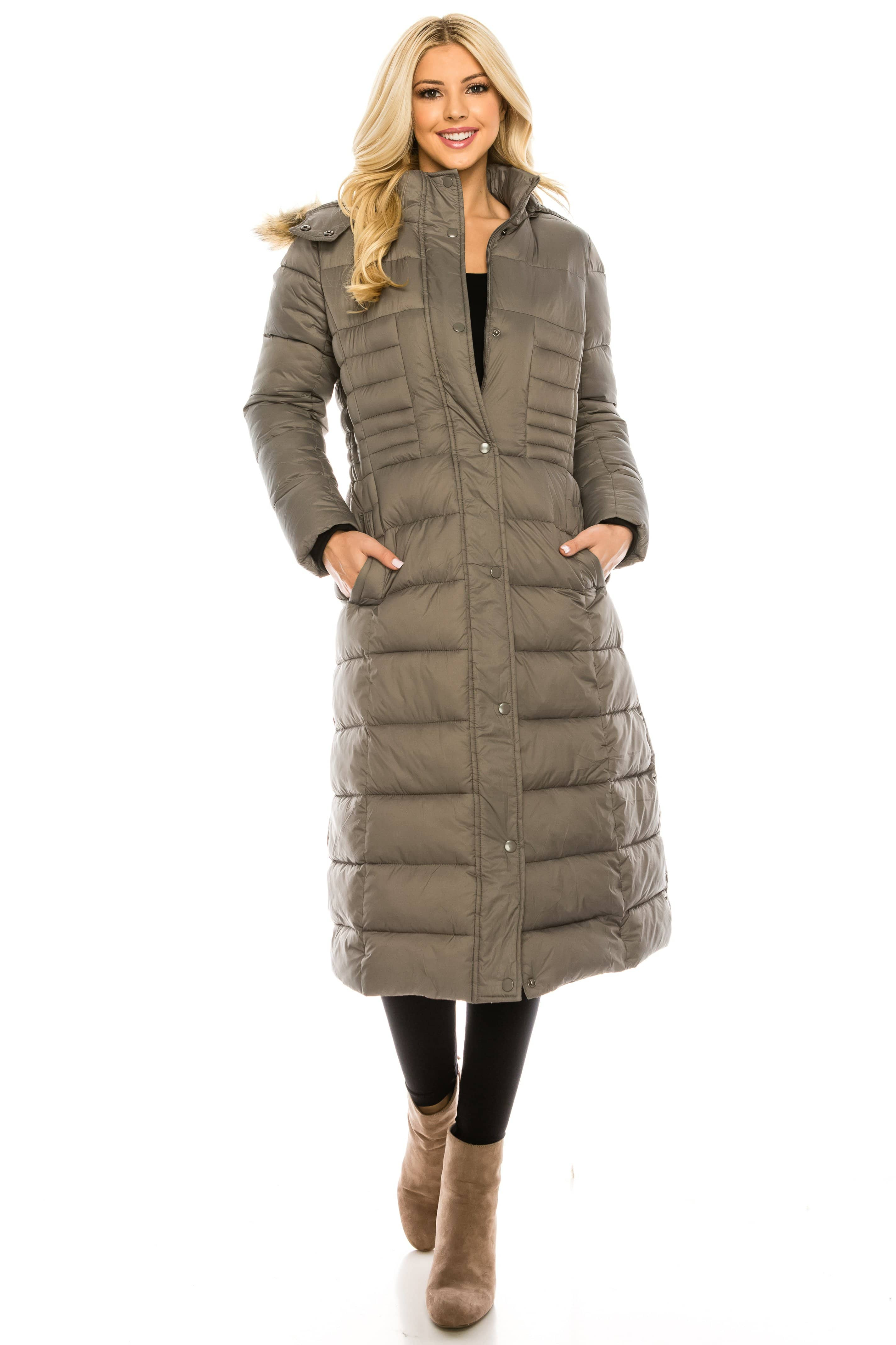 DAILYHAUTE Women's coats GREY / S Haute Edition Women's Maxi Length Quilted Puffer with Fur Lined Hood