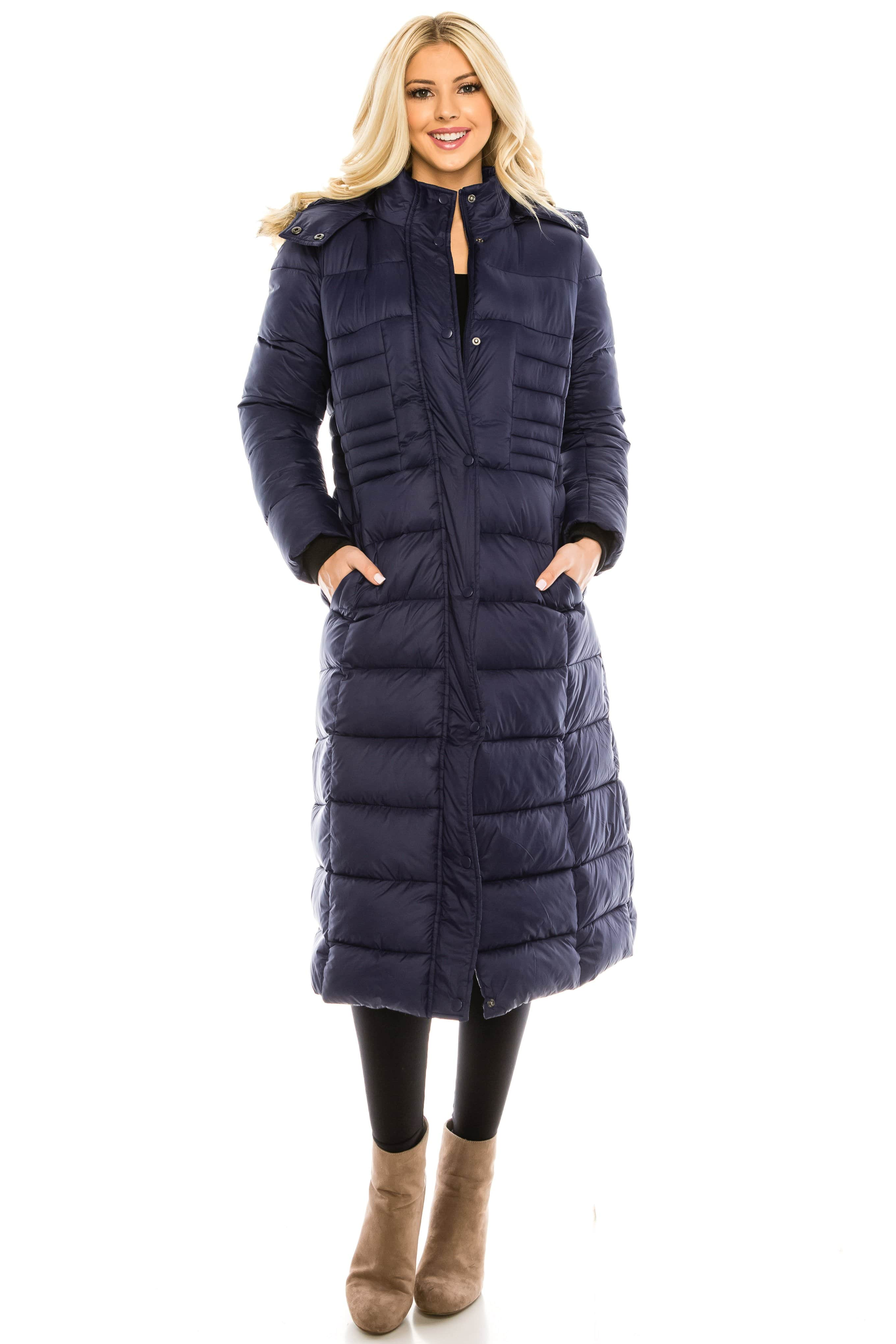 DAILYHAUTE Women's coats NAVY / S Haute Edition Women's Maxi Length Quilted Puffer with Fur Lined Hood