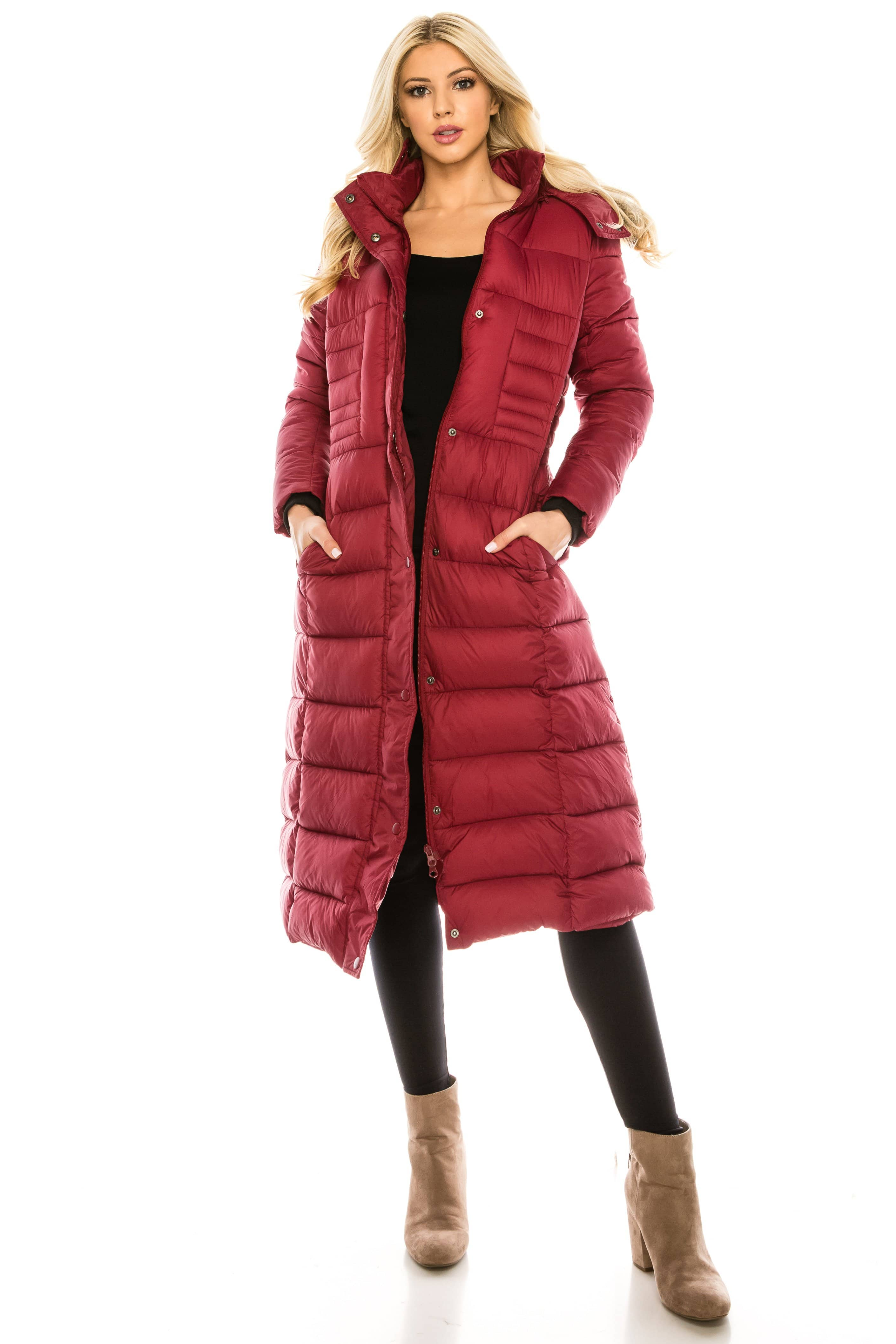 DAILYHAUTE Women's coats WINE / S Haute Edition Women's Maxi Length Quilted Puffer with Fur Lined Hood