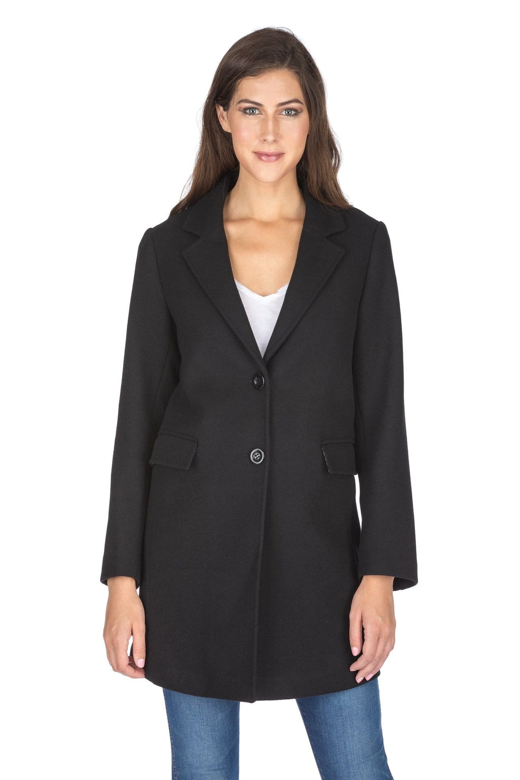 DAILYHAUTE Women's coats BLACK / SMALL Haute Edition Women's Wool Blend Single Breasted Coat