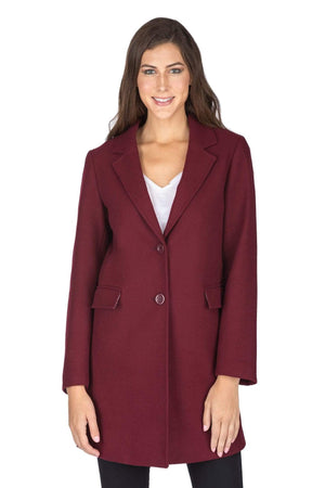 DAILYHAUTE Women's coats BURGUNDY / SMALL Haute Edition Women's Wool Blend Single Breasted Coat
