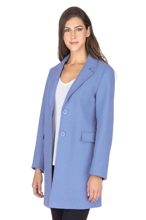 DAILYHAUTE Women's coats PEACOCK BLUE / SMALL Haute Edition Women's Wool Blend Single Breasted Coat