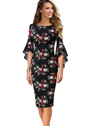 DAILYHAUTE Women's dress BLACK FLORAL / S Haute Edition Women's Bell Sleeves Cocktail Party Dress