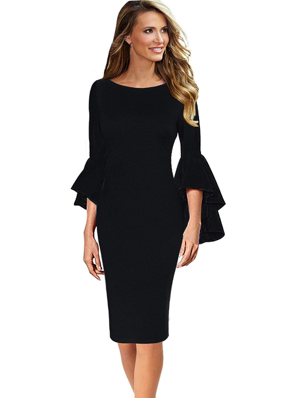 DAILYHAUTE Women's dress BLACK / S Haute Edition Women's Bell Sleeves Cocktail Party Dress