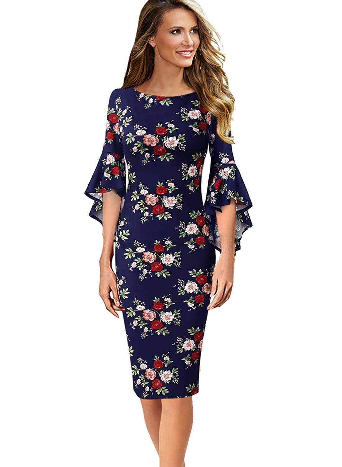 DAILYHAUTE Women's dress NAVY FLORAL / S Haute Edition Women's Bell Sleeves Cocktail Party Dress