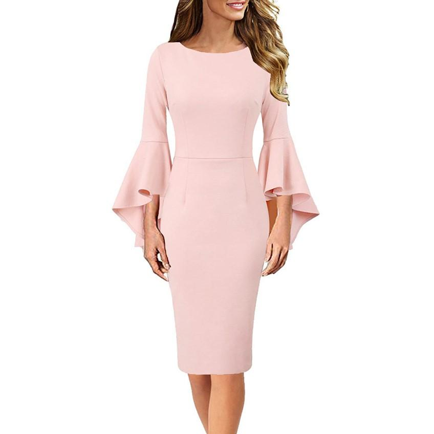 DAILYHAUTE Women's dress PEACH PINK / S Haute Edition Women's Bell Sleeves Cocktail Party Dress