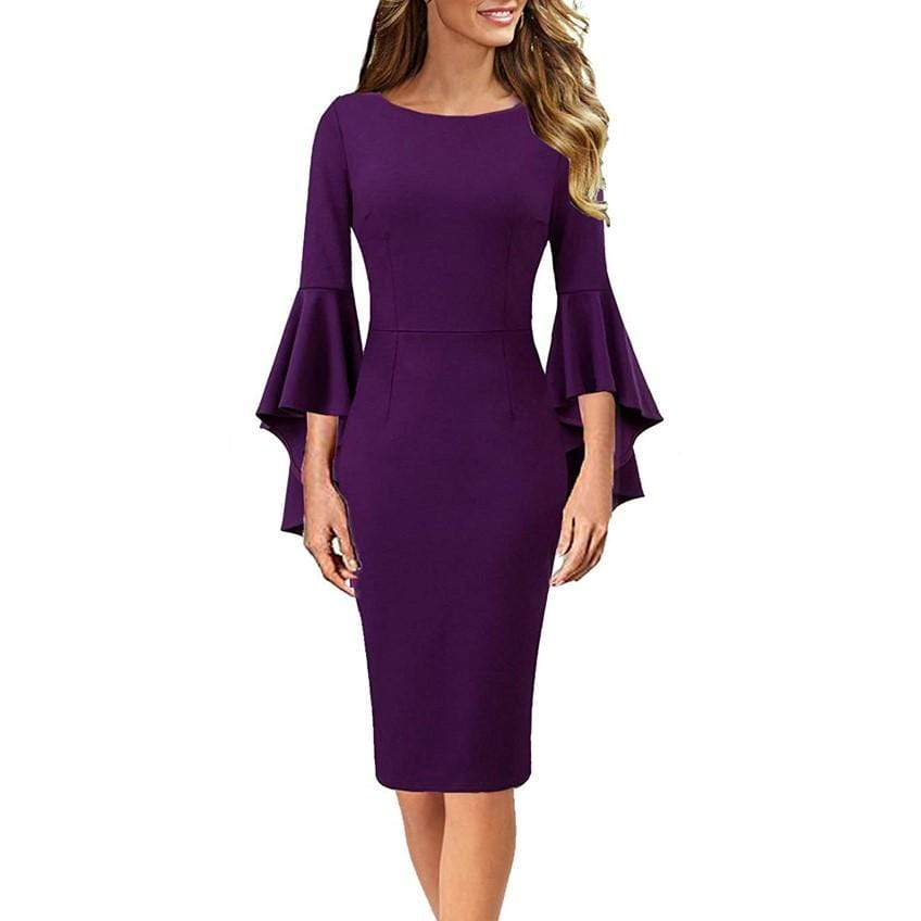 DAILYHAUTE Women's dress PURPLE / S Haute Edition Women's Bell Sleeves Cocktail Party Dress