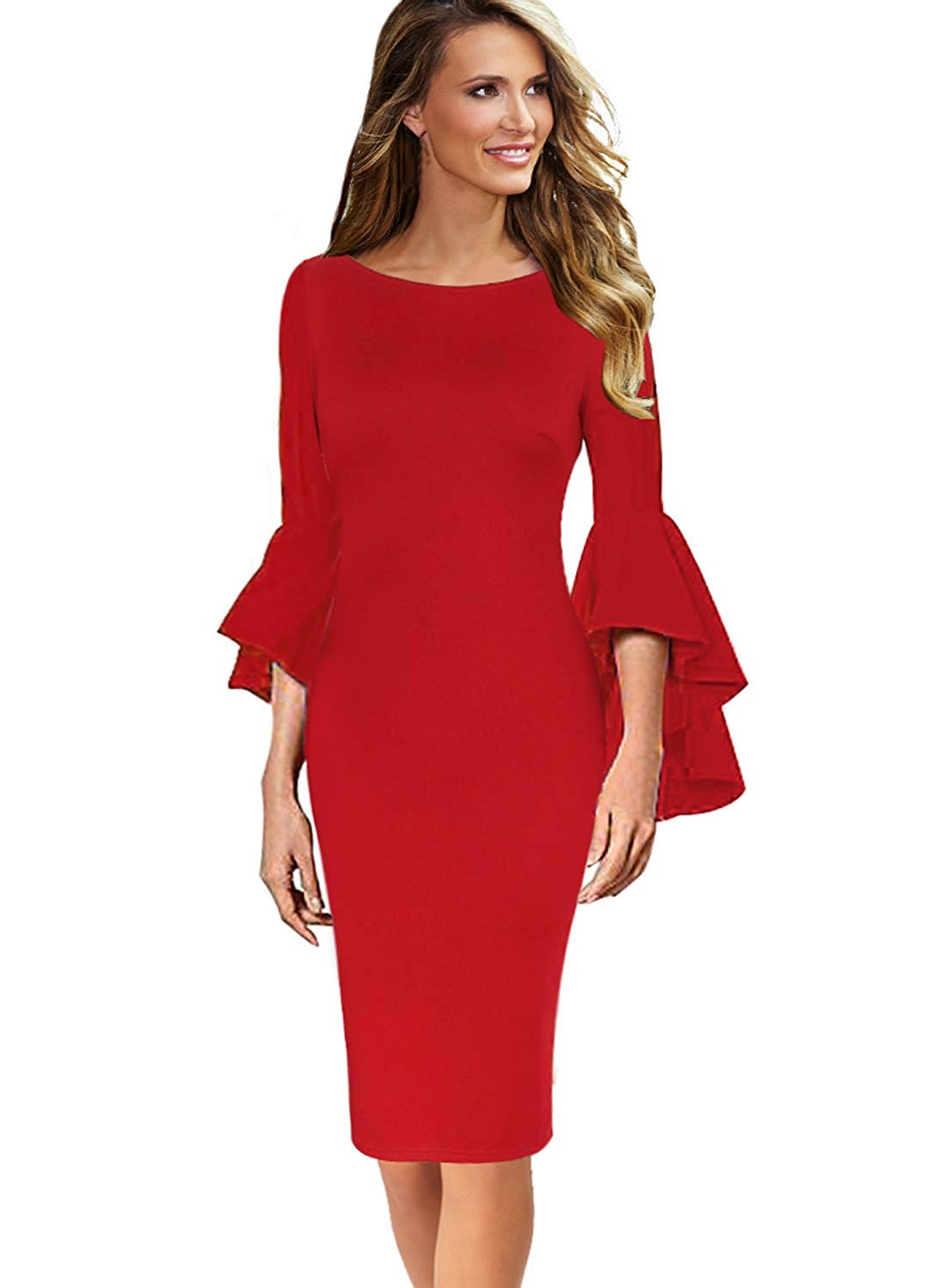 DAILYHAUTE Women's dress WINE / S Haute Edition Women's Bell Sleeves Cocktail Party Dress