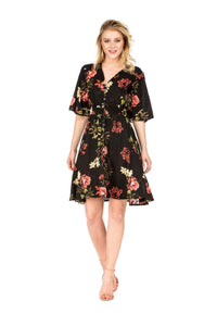 DAILYHAUTE Women's dress BLACK / S Haute Edition Women's Button Up Floral Party Dress