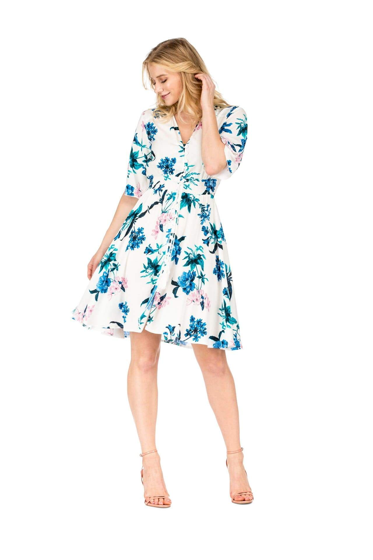 DAILYHAUTE Women's dress Haute Edition Women's Button Up Floral Party Dress