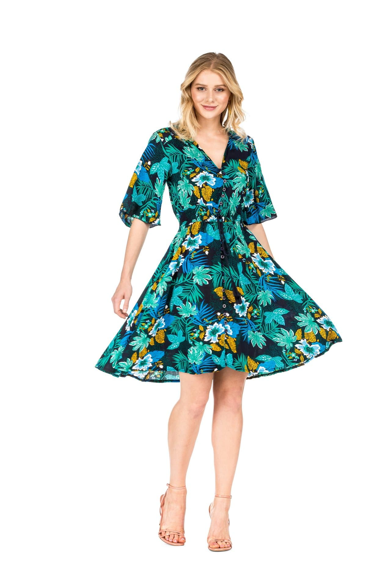 DAILYHAUTE Women's dress GREEN / S Haute Edition Women's Button Up Floral Party Dress